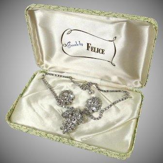 Vintage 1950s Jewels by FELICE 3 Dimensional Rhinestone Choker Necklace - Earrings