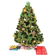 Miniature Doll House Decorated Christmas Tree with Presents Vintage 1970s Dollhouse Christmas Decor