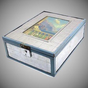 "Art Deco Chromium Mirrored Box ""Memories Awake as the Sunlight Fails"" Litho Print"