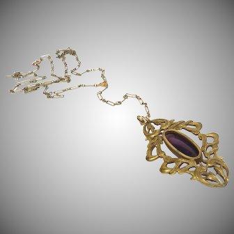 Art Noveau Pendant and Necklace Vintage Early 1900s Bohemian Amethyst Pendant Y Necklace