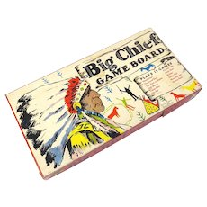 1938 Big Chief Game Board by Milton Bradley Board Instructions and Playing Pieces