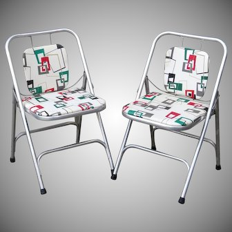 Mid Century Aluminum Folding Chairs by Shott Eames Era Atomic Pattern Seats