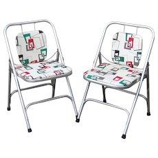 Pair Mid Century Folding Chair Shott Aluminum Folding Chairs Eames Era Atomic Modern 1950s 1960s Space Age Aluminum Furniture Pair