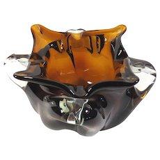 Cristales de Chihuahua Art Glass Bowl Vintage 1950s Amber and Clear Blown Bowl - Juarez Mexico