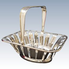 Silverplate Basket With Handle Chinoiseries Style