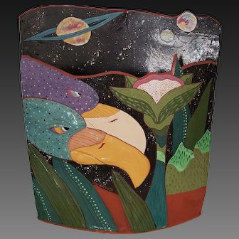 Deb Stabley Large Studio Pottery Vase 2 Eagles Exotic Birds 88-5