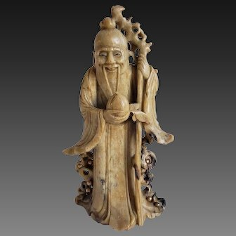 Antique Chinese Soapstone Figure Immortal