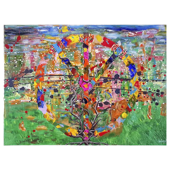 Peaceful tree - A. Knabengof Abstract art painting on canvas collecting author's work for home living room contemporary decor on wall