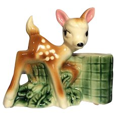 Royal Copley Bambi Deer Mid-Century Pottery Planter Fawn with Spots