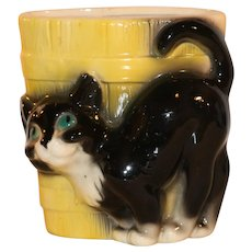 Vintage Copley Black Cat Garden Planter Green Eyes So Adorable