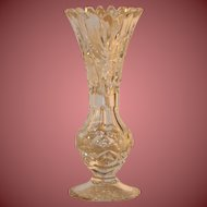 "Free Shipping Vintage Mid Century Exquisite Crystal Flower Vase 7"" Tall"