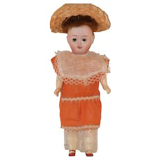 """Antique 9"""" Johann Walther & Sohn Bisque Head Paper Body Cabinet Doll"""