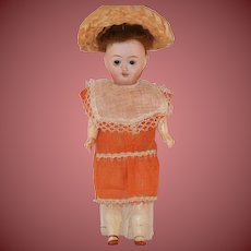 "Antique 9"" Johann Walther & Sohn Bisque Head Paper Body Cabinet Doll"