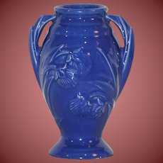 "USA McCoy Pottery Dark Blue Vase 5 1/2"" Free Shipping"