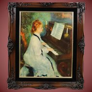 Beautiful Print Lady Playing Her Piano Framed 23 x 27 Ships for Free