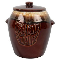 Vintage McCoy Pottery Cookie Jar with Lid Brown Drip Pattern Free Ship