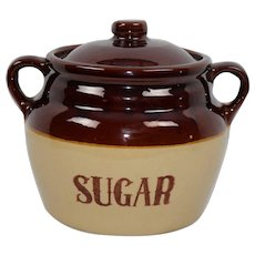 Large Vintage McCoy Sugar Jar with Lid Marked USA Free Ship
