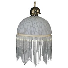 Beautiful Vintage Glass Lampshade with Glass Beads and Pearls