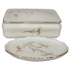 Rosen Thal Fine China Trinket Box Vanity Set Golden-Palm Pattern