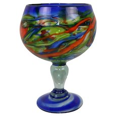 Vintage Multi Color Mexican Hand Blown Large Stemmed Glass