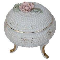 Footed Fine Bone China Powder Jar Vanity Trinket Box