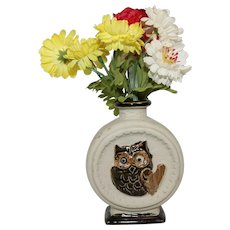 Vintage Owl Vase for Small Bouquet A Great Doll Prop Free Ship