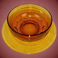 Vintage Hazel Atlas Amber Eldorado Beautiful Platter and Matching Bowl Excellent for Parties