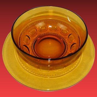 Vintage Serving Platter Matching Bowl by Hazel Atlas in the Amber Eldorado Pattern