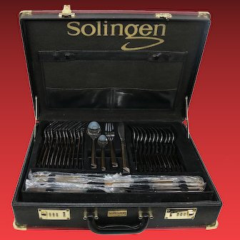 Vintage Stainless Steel Silverware Set Solingen Germany With Brief Case 72 Beautiful Pieces