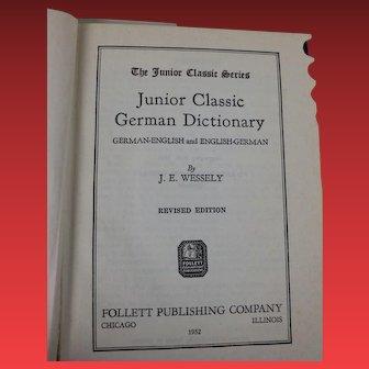 Vintage Junior Classic German Dictionary German English - English German