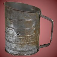 Vintage Flour Sifter with Great Patina and Wooden Knob Handle
