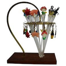 FREE SHIP Vintage Cocktail Swizzle Sticks With Comical Tops and Matching Holder