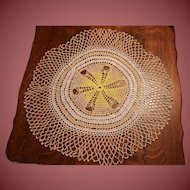 """Large Doily 21"""" Vintage Hand Made Very Nice"""