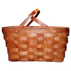 Woven Double Handle Wood Picnic Basket Vintage