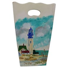 Artist Signed Painted Lighthouse Vintage Arts & Crafts WhatNot Holder