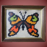 Needlework Butterfly in Frame A Vintage Must Have