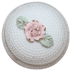 3 Footed Bone China Vanity Trinket Holder With Rose Top