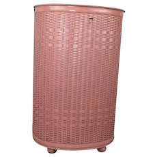 Vintage Pink Childs Laundry Hamper 60s Adorable