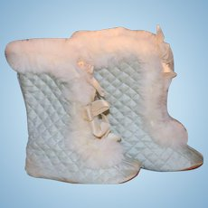 """Rare Doll Boots for Large Doll Gorgeous 5"""" Trimmed in Rabbit Fur"""