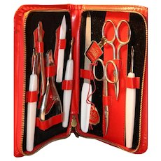 Beautiful Mid Century German Manicure Set in Red Leather Case