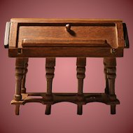 Vintage Wooden Doll House Desk With Drawers and Cubbies