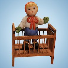 Vintage Doll House Doll Crib with Doll