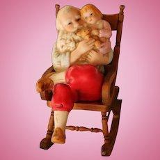 Vintage Dollhouse Santa Holding Little Girl and Teddy