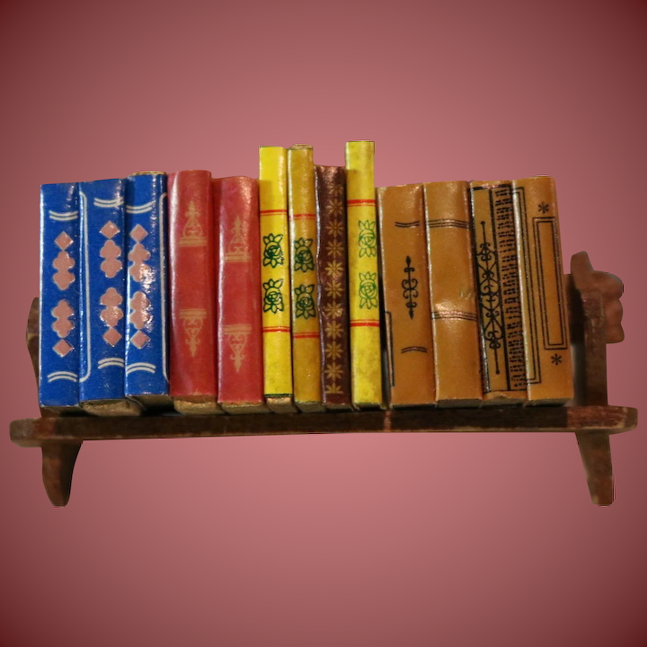 Dollhouse Miniature Books in Wooden Book Holder