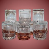 Ten Vintage Anchor Hocking Cocktail Mix Drink Glasses Bubble Bottoms