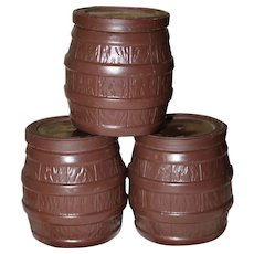 Three Vintage Toy Plastic Barrels With Lids