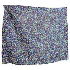 Vintage Psychedelic Flower Power Blue-Red-Yellow-White Fabric for Dolls and Things