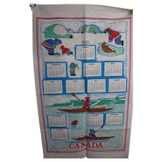 Vintage Canada Cloth Calendar 1990 with Igloos and Eskimos Very Nice