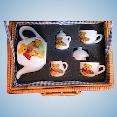 Hermann Teddy Original German Doll Tea Set in Wicker Carry Case