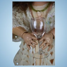 Set of Two Vintage Riekes Crisa Hand Blown Old Mexico Doll Wine Glasses Translucent Pink Beautiful for Your Bebe
